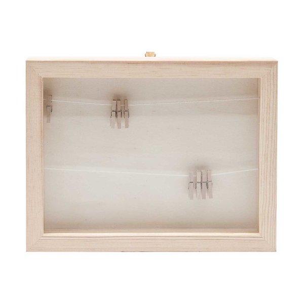 Rico Design Holz Bilderrahmen mit Fotoleine 22x17x2,5cm