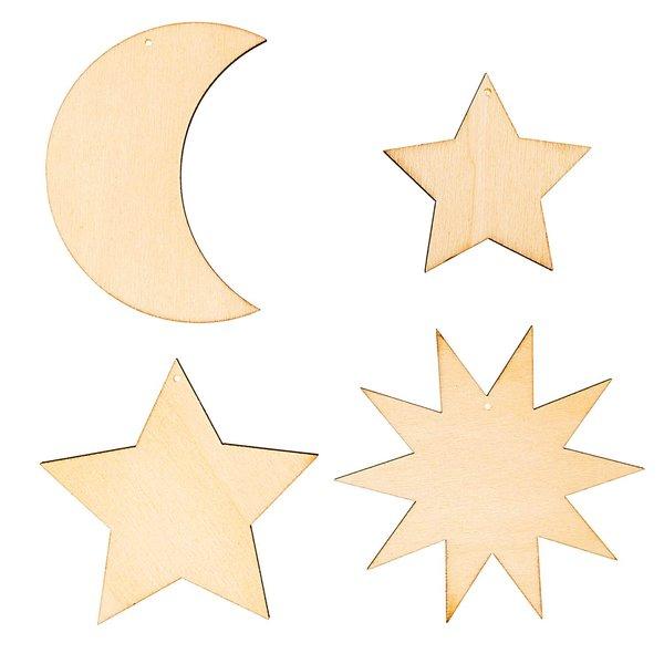 Rico Design Holzdekoanhänger-Set Mond und Sterne 4teilig