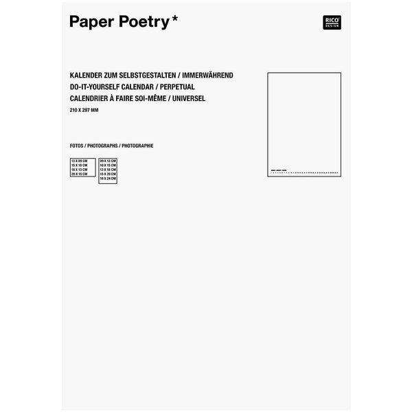 Paper Poetry Bastelkalender immerwährend weiß A4