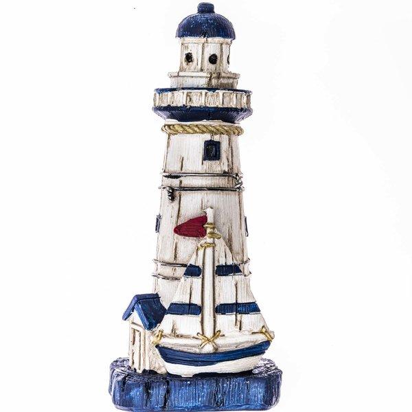 Leuchtturm mit Segelboot blau-weiß 15cm
