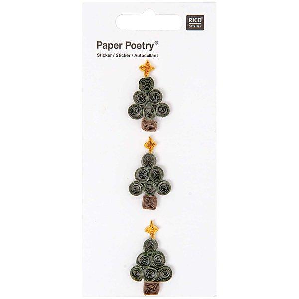 Paper Poetry Quilling Sticker grüne Tannenbäume