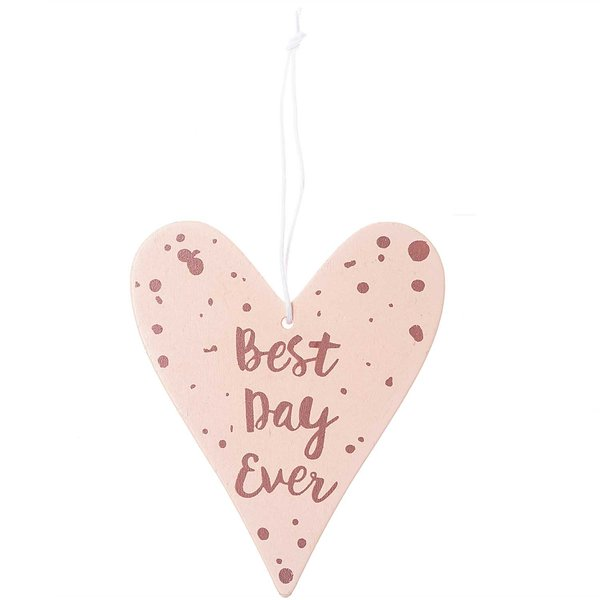 Ohhh! Lovely! Holzhänger Herz mit Spruch puder-rosegold