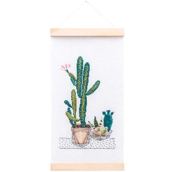 Rico Design Stickpackung Wandbehang Kakteen 20x36cm