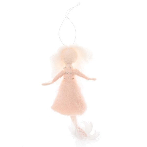 Filz-Engel zum Hängen lachs-weiß 12x10cm