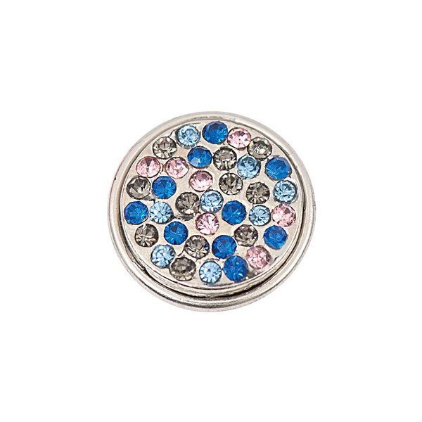 Rico Design Knopf Strass grau-blau-schwarz-pink 14mm