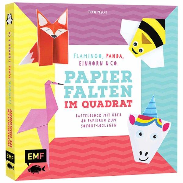 EMF Papier falten im Quadrat: Flamingo, Panda, Einhorn  Co.
