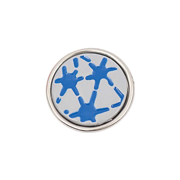 Rico Design Knopf Muster blau-grau 14mm
