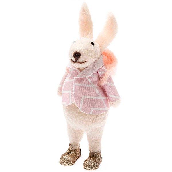 Filz-Hase mit Kiepe rosa-weiß 13cm