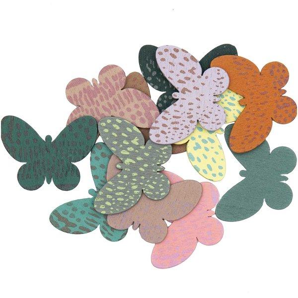 Ohhh! Lovely! Holzstreu Schmetterling Mix bunt 12 Stück