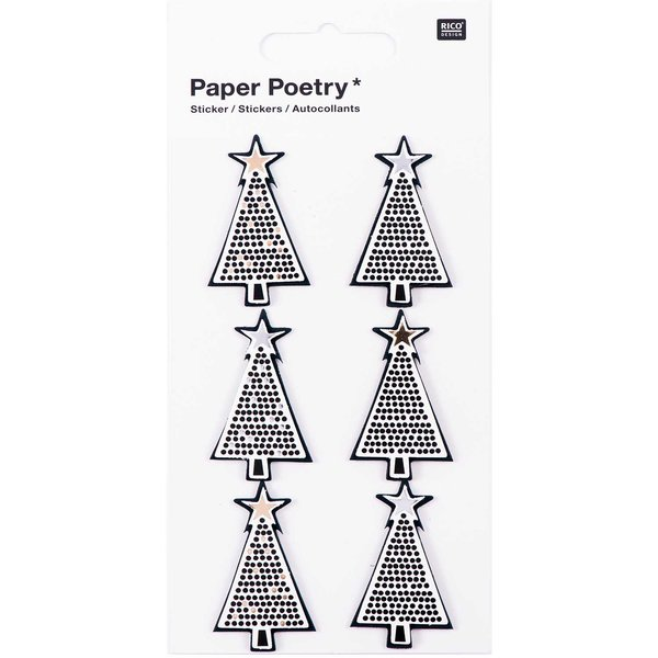 Paper Poetry 3D Sticker Tannen schwarz Hot Foil