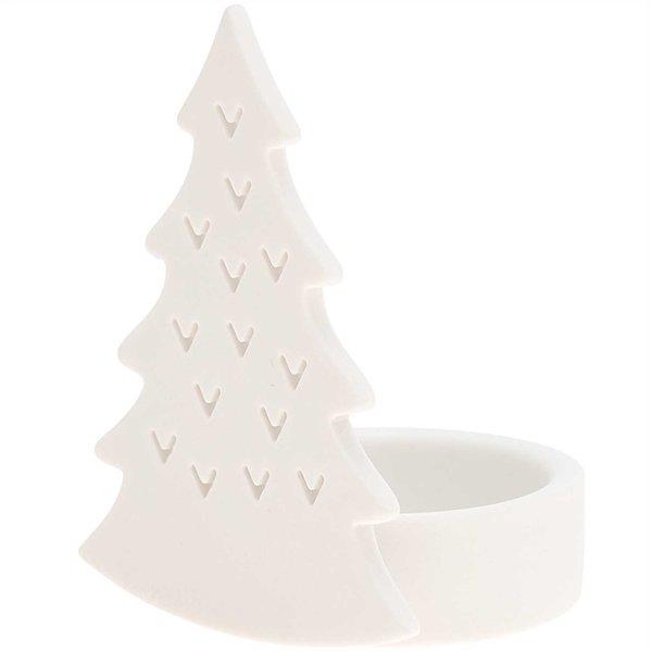 Ohhh! Lovely! Teelichthalter Tannenbaum Keramik weiß 8,5x5x6,5cm