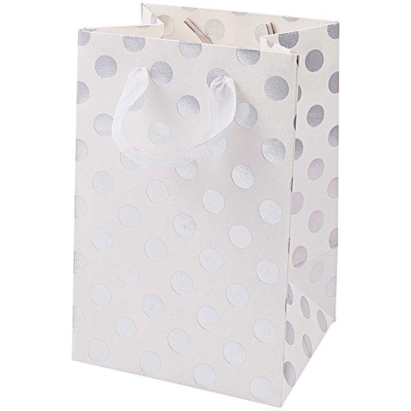 Paper Poetry Geschenktüte weiß Punkte silber 12x18x10cm