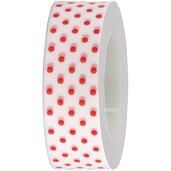 Rico Design Tape weiß-rote Punkte 15mm 10m