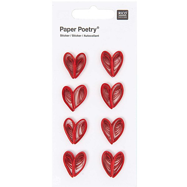 Paper Poetry Quilling Sticker Herzen rot
