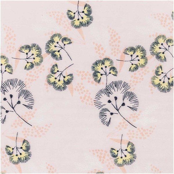 Rico Design Musselin-Druckstoff Jardin Japonais Blumen rosa 140cm