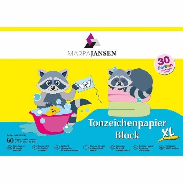 MARPA JANSEN Tonzeichenpapier XL mehrfarbig 24x34cm 60 Blatt