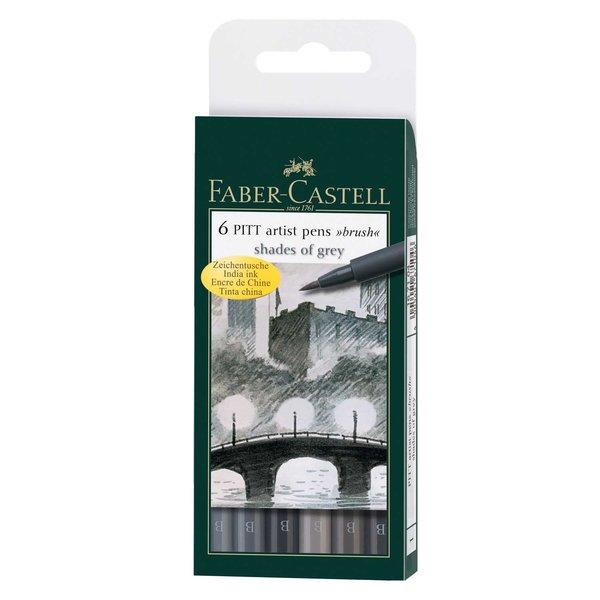 Faber Castell PITT artist pen brush Shades of grey 6er Set