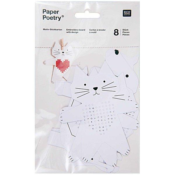 Paper Poetry Stickkarton Hund-Katze-Schnecke-Pferd