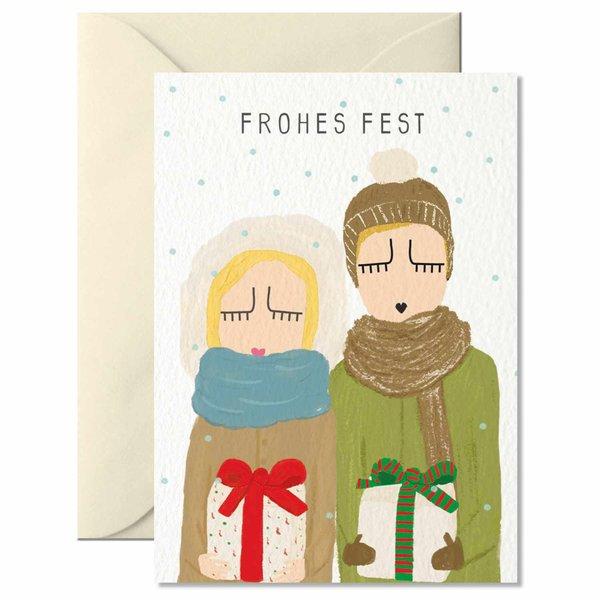 Nelly Castro Grußkarte Frohes Fest mit Geschenken 10,5x7,4cm