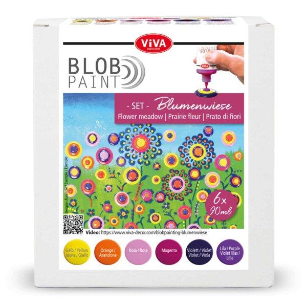 Viva Decor Blob Paint Set Blumenwiese 6x90ml