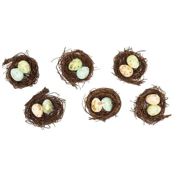 Ohhh! Lovely! Osternest mit Eiern dunkel 7cm 6 Stück