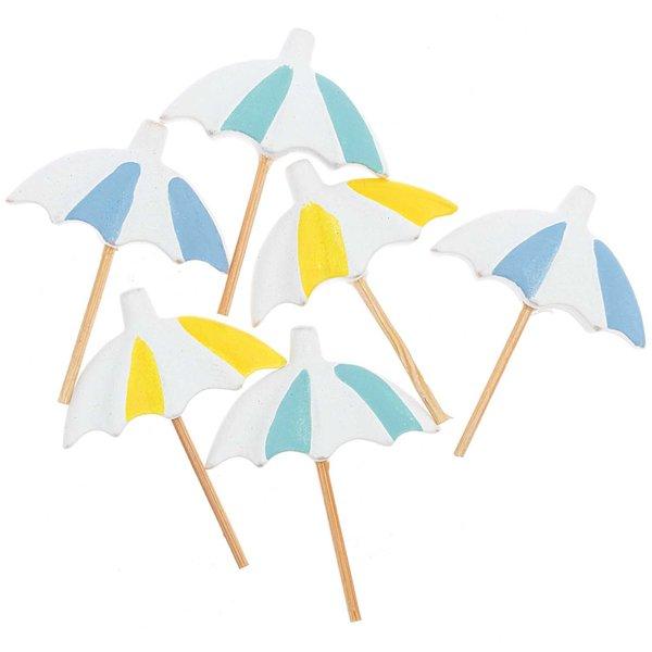Streu Sonnenschirm blau-gelb-weiß 4cm 6 Stück
