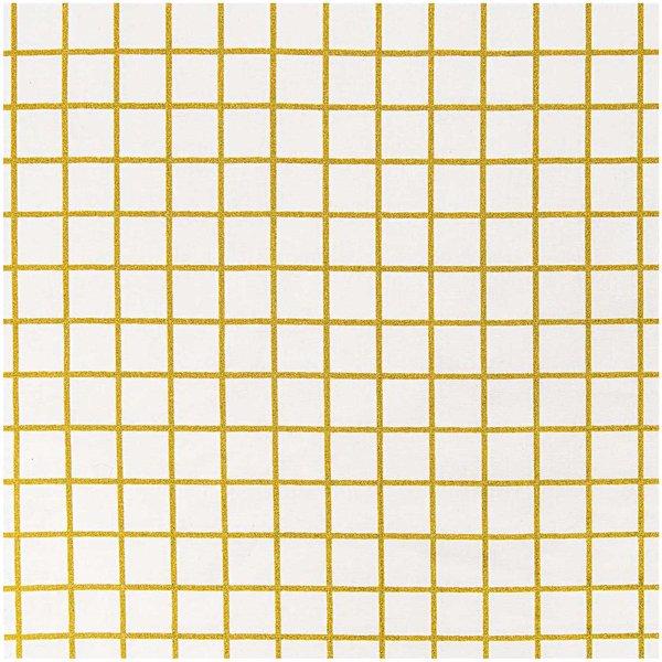 Rico Design Stoff Karo klein weiß-gold 140cm beschichtet