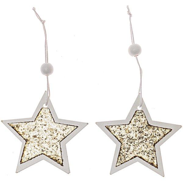 Sterne zum Hängen gold-weiß-glitter 8cm 2 Stück