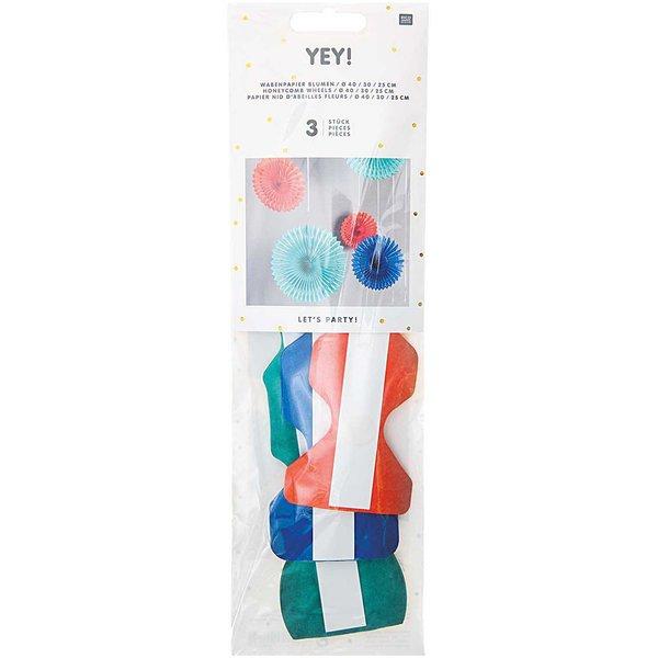 YEY! Let's Party Wabenpapier Blumen mehrfarbig 3 Stück