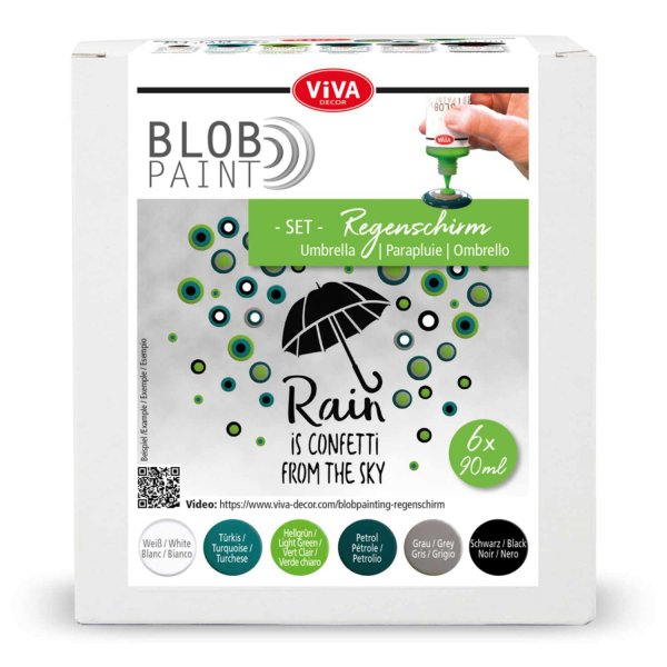 Viva Decor Blob Paint Set Regenschirm 6x90ml
