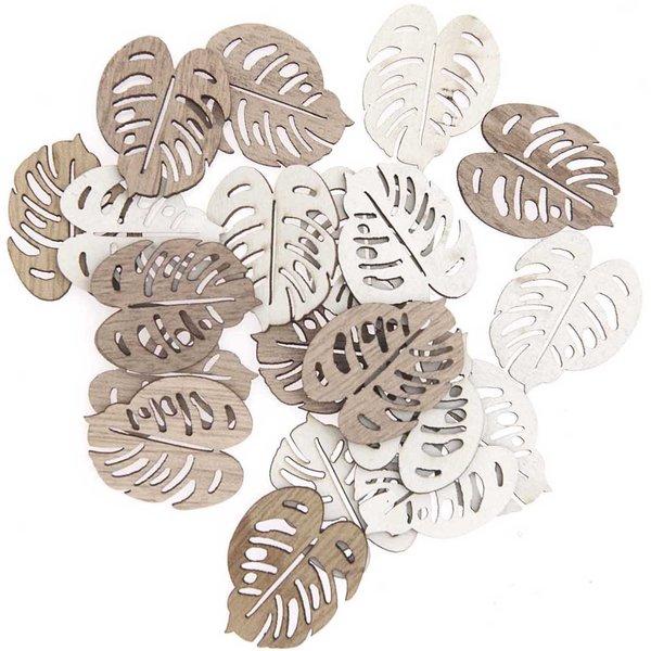 Holzstreu Blatt natur-weiß 2,7cm 20 Stück