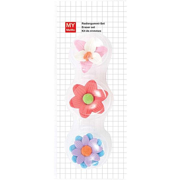 Rico Design Radiergummis 3D Blumen 3 Stück