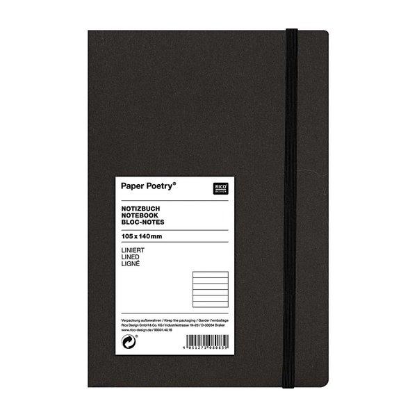 Paper Poetry Notizbuch weiß A6 schwarz liniert