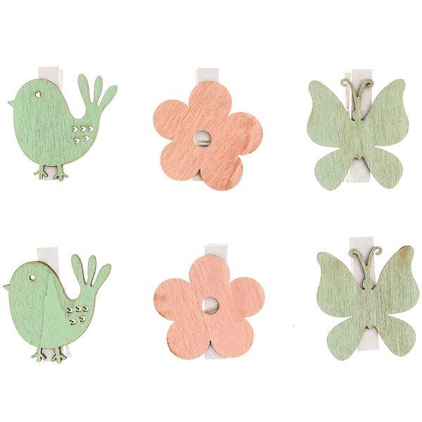 Holzklammern Vogel, Blume & Schmetterling 3,5x3,5cm 6 Stück