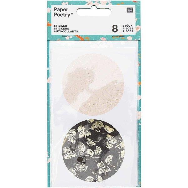 Paper Poetry Sticker Jardin Japonais grafisch 8 Stück