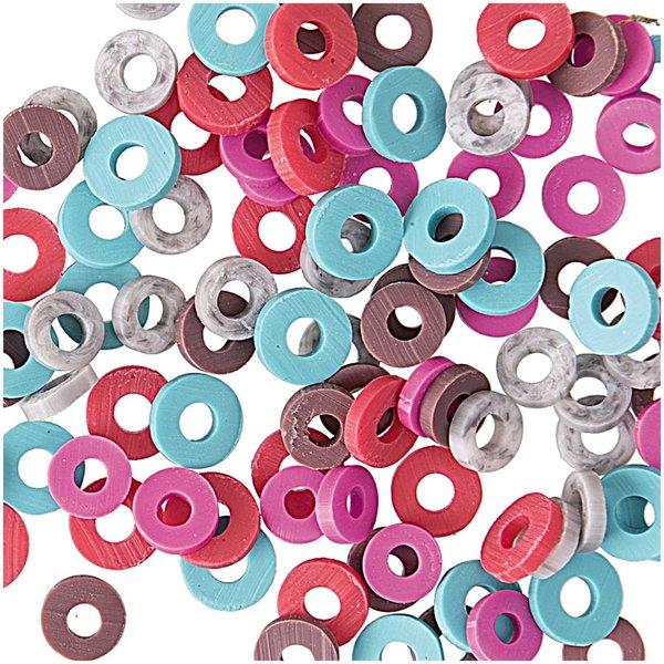 Jewellery Made by Me Gummischeiben Mix koralle 6mm 100 Stück