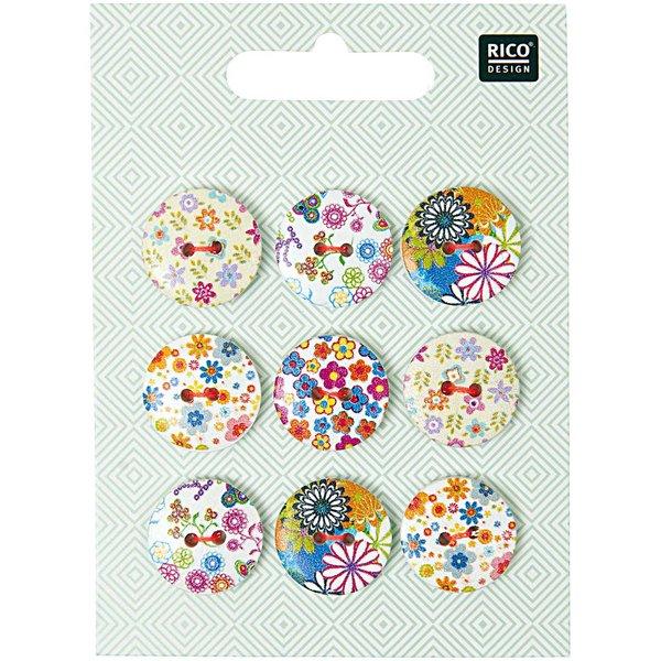 Rico Design Knopfmix floral 1,8cm 9 Stück