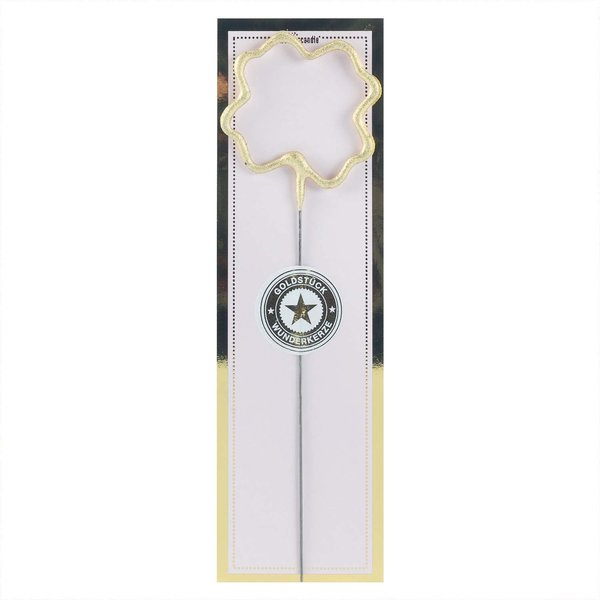 Wondercandle Wunderkerze Symbol Kleeblatt classic gold