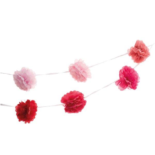YEY! Let's Party Pompon-Girlande pink 180cm 2 Stück