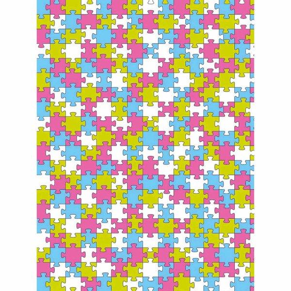 décopatch Papier Puzzle pink-grün-blau 3 Bogen