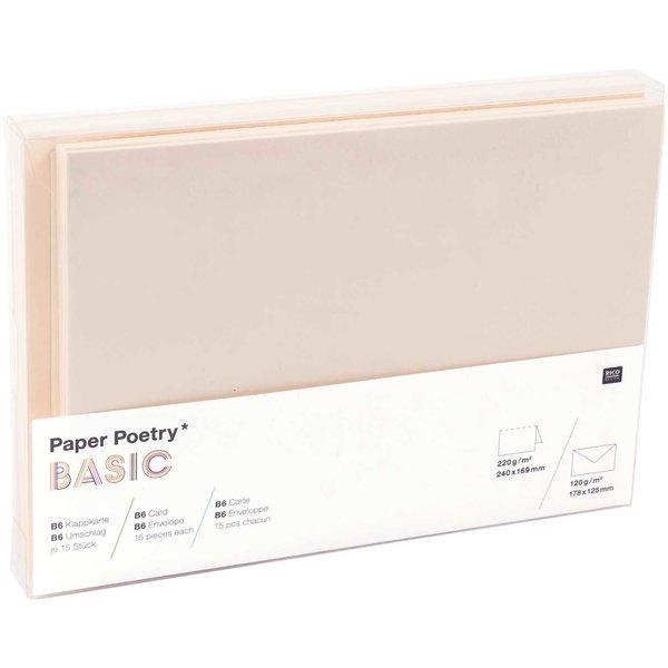 Paper Poetry Kartenset Basic elfenbein B6 30teilig