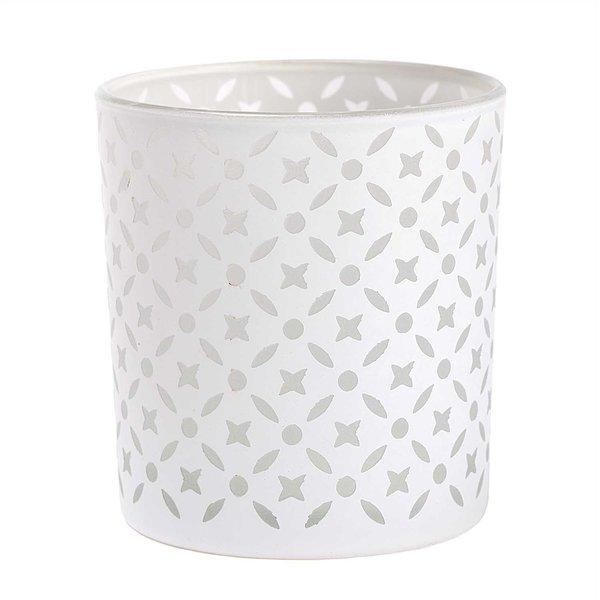 Windlicht mit grafischem Muster weiß 8x7,5cm