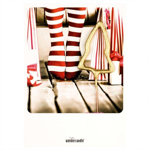 wondercandle Wondercard Mini-Geschenkkarte mit Wunderkerze X-Mas Socken