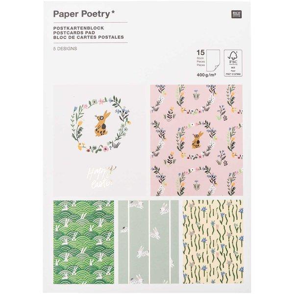 Paper Poetry Postkartenblock Bunny Hop 15 Stück