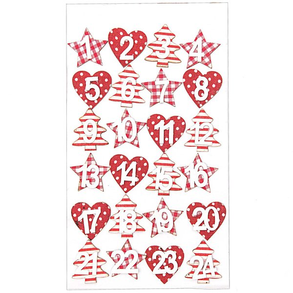Adventskalender Zahlen rot-weiß 3cm Holz 24 Stück