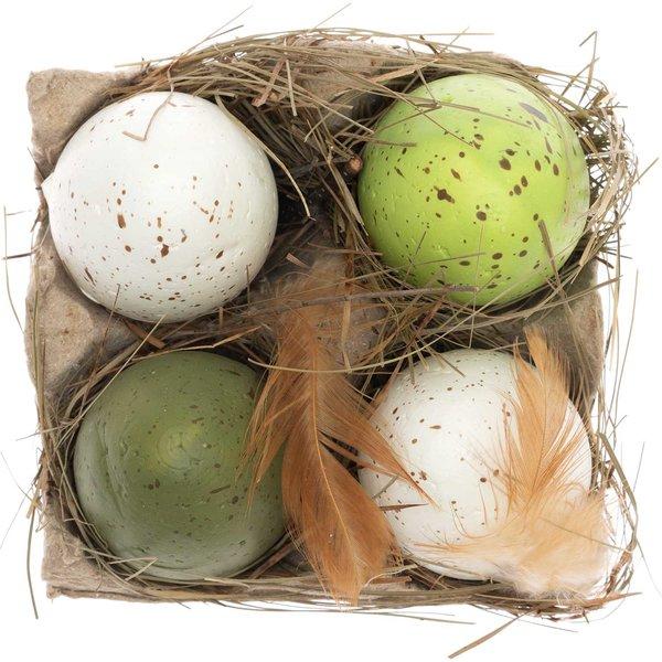Eier in der Box grün-weiß 4 Stück