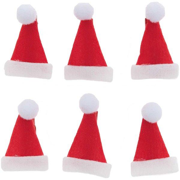 Ohhh! Lovely! Dekoklammern Weihnachtsmützen rot 3,5cm 6 Stück