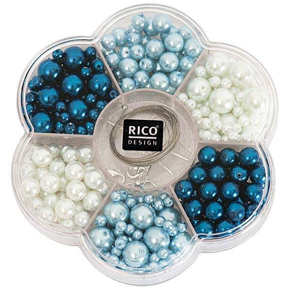 Rico Design Renaissance Perlenset blau  Mix