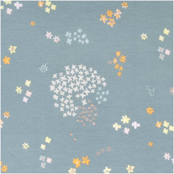 Rico Design Jerseystoff Crafted Nature Blumen grau metallic 145cm