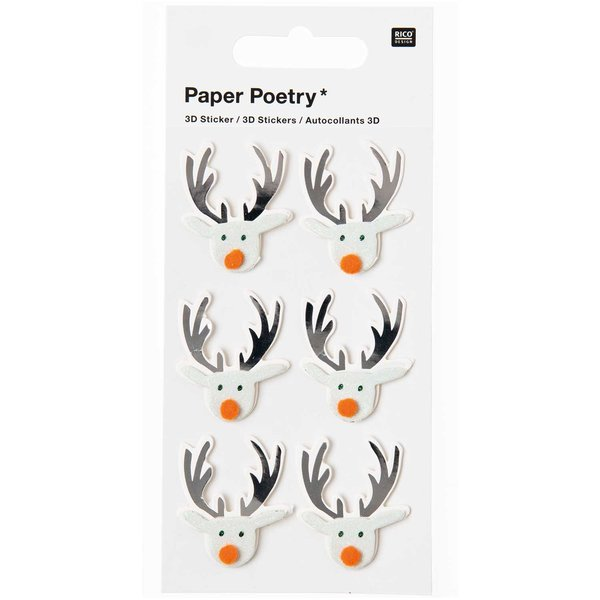 Paper Poetry 3D Sticker Rentier mint